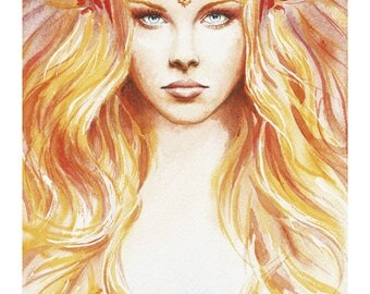 Watercolor Illustration print / / color on paper / / Fairy of the day