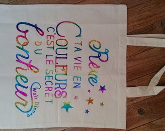 "Tote Bag ""dream your life in color...""-- tote bag - grocery bag cotton bag"