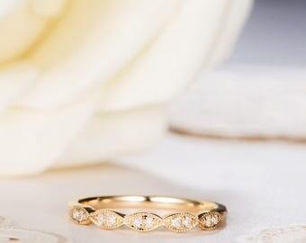 Art Deco Wedding Band Women Diamond Antique Wedding Ring Gold Half Eternity Retro Stacking Anniversary Promise Engraving Band Milgrain Ring