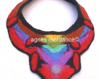 "Necklace felted ""the Sahara"" bib - Merino Wool felted - OOAK"