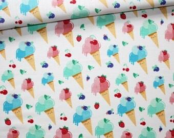 Tissu glaces, 100% coton imprimé 50 x 160 cm, glaces couleurs pastel fond blanc, été, vacances
