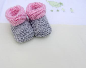 """Gray and pink"" baby booties size newborn handmade knit"