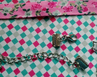 Kit to make a bracelet in shades of pink liberty charm feather and star silver metal with adjustable clasp