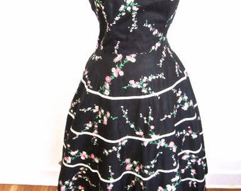 M L 50s Rhinestone Floral Strapless Party Dress Black Pink White Print Full Circle Skirt Crinoline Cocktail Summer Sexy Medium Large