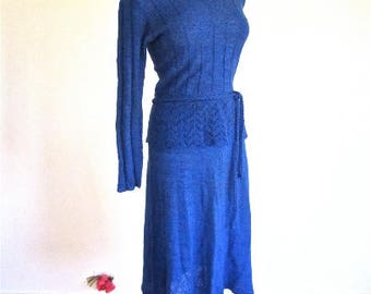 M L 70s 80s Blue Knit Dress Peplum Belt Sweater Cotton Day Office by Just Mort Medium Large