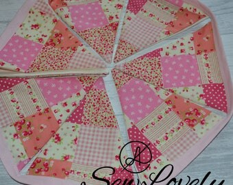 Beautiful Cotton Pink Patchwork Style Bunting/Baby Girl Bunting/Nursery Decor