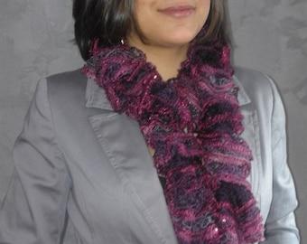 Fancy ruffle wool hand knitted scarf for women purple