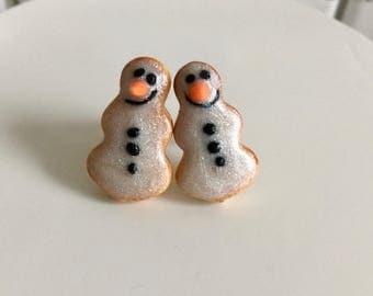 Snowman Cookie Stud Earrings