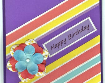 Birthday Card - Stripes and Flowers