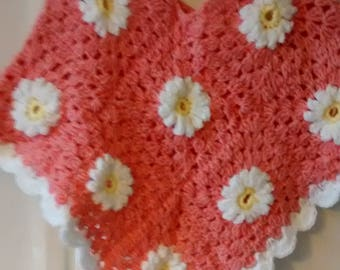 Salmon Pink and White Daisy Crochet Poncho, 3 - 4 years