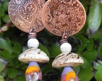 Beautiful romantic handcrafted dangle earrings