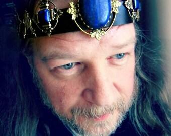 Regal Kings Crown, Lapis Gemstone, Lapis Headpiece, Black Leather Headband, Ren Fair, Burning Man Festival, Ready to Ship