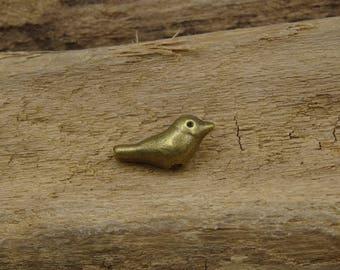 5 beads 14mm bronze metal bird
