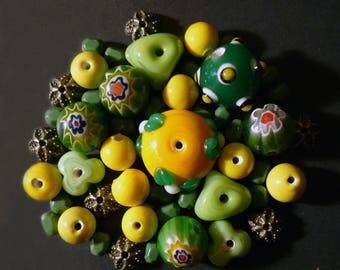 48 green, yellow, bronze bead caps and Indian glass beads