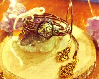Golden Pyrite Stone Wrap Choker