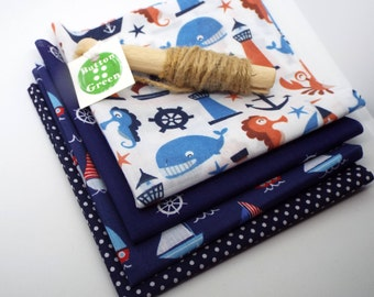 Nautical Sailboat Yacht poly cotton fabric x4, fat quarters, 25cm x 25cm
