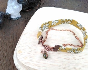 Ribbon and copper chain bracelet