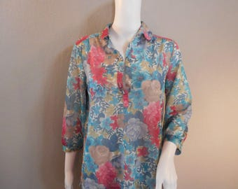 60's Floral Sheer Blouse Size small medium Ship' N Shore