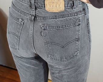 Vintage Levi Jeans/waist 29/gray jeans/high waisted, tapered leg, mom jeans