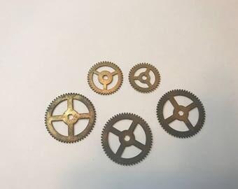 5 Vintage authentic gears, steam punk, mechanical vintage