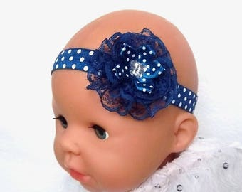 Baby girl headband 03/18 months Navy polka dots, lace and satin Navy Blue polka dot, rhinestone Butterfly