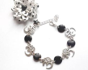 Yoga bracelet silver and black enamel
