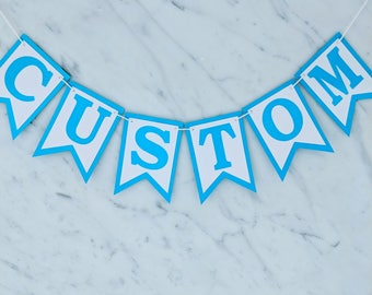Bright Blue & White Custom Personalised Bunting - Birthday Wedding Engagement Baby Shower Baptism Hens Bucks Farewell Party Banner Garland