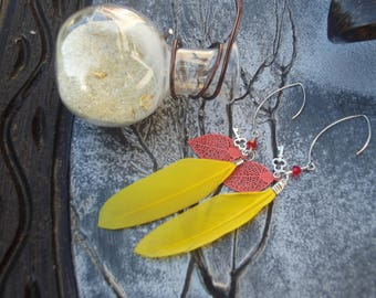 Hooks earrings silver, faceted red orange leaf, silver key bead and yellow feather