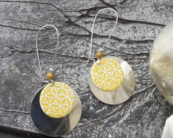 Large dangling earrings sleepers silver, silver round sequin, sequin enamelled printed flowers yellow on white background and pearls