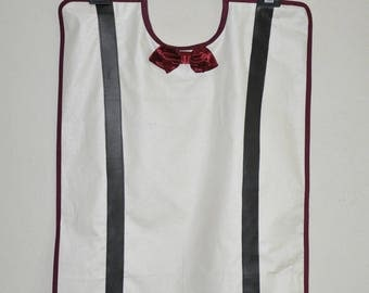 Adult bib waterproof white man, Burgundy bowtie and black straps