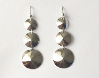 Retro 1970's Silver Round Disks Long Dangle Drop Statement Earrings