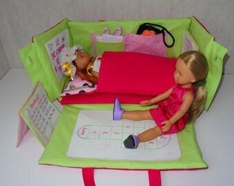 Tuto du sac-chambre : sac -  tapis de jeu - lit pour poupée 33cm