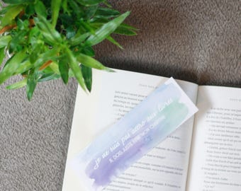 "Bookmark watercolor - ""I'm not addicted to books - I just have to finish my chapter"""