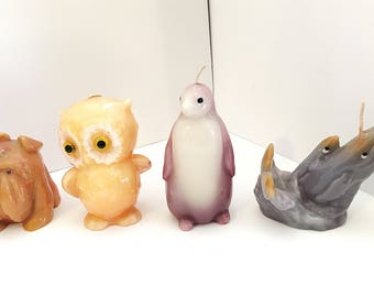 Vintage Marble Animal Candle, Vintage Owl Candle, Vintage Penguin Candle, Vintage Bulldog Candle, Vintage Whale Candle