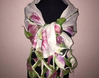 Handmade scarf linen and wool