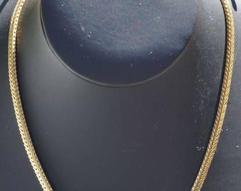 "Vintage Trifari TM Cabochon Rhinetone & Gold Tone Chain Choker Type Necklace 16 3/4"""