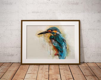Kingfisher Painting, Bird Painting, Bird Print, Bird Watercolor, Kingfisher Print, Blue Kingfisher, Watercolor Print, Kingfisher bird, Art