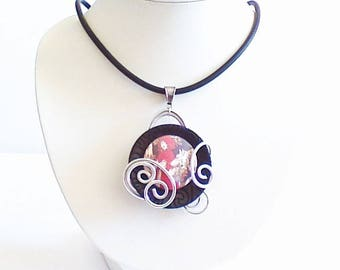 Necklace, pendant, little Red Riding Hood spiral.