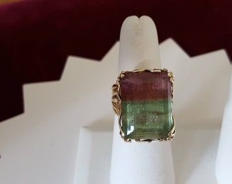 Vintage Estate 19.33 Carat 14k Watermelon Tourmaline Ring