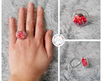 Love heart red hearts glass dome ring