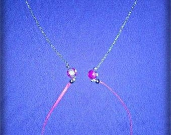 Pink necklace with chain / Ribbon