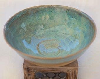Large turquoise pottery bowl
