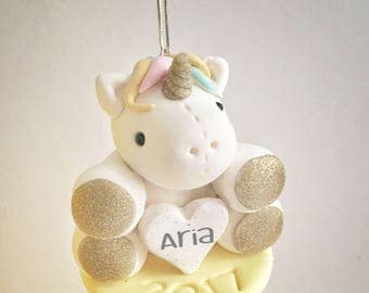 Personalized Unicorn Ornament- 1st Christmas Ornament - Baby's First Christmas Ornament - Christmas gift for baby - Baby gift - Handmade