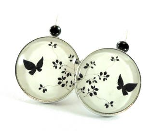 Black and white floral Butterfly cabochon earrings