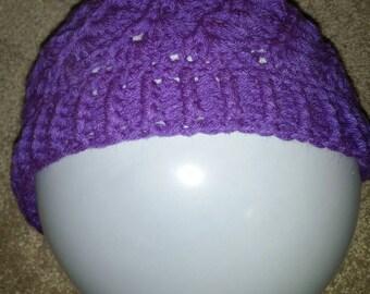 Winter hat, purple hat, womens hat, crocheted hat
