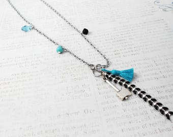 Necklace Cheyenne Indian jewel, steel, Crystal, silver and black enamel chain, turquoise, asymmetrical tassel
