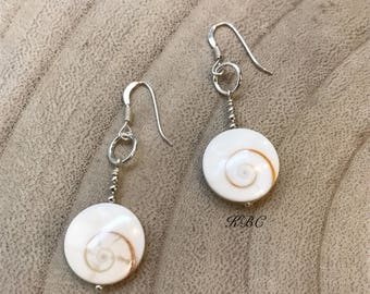 Good luck earrings made with french shell and silver