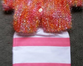 "Pink and Orange Sparkle Sweater & Skirt fits 18"" American Girl doll"