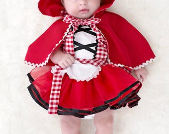 Red Riding Hood costume baby, Red Riding Hood costume, baby costume apron,  newborn photo prop, newborn Halloween costume, newborn costume