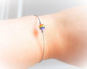 Thin metal and Rainbow Bead Bracelet